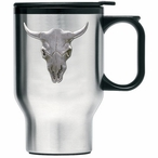 Longhorn Steer Stainless Steel Travel Mug with Handle & Pewter Accent
