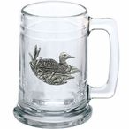 Loon Glass Beer Mug with Pewter Accent