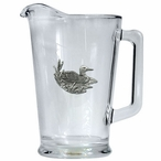 Loon Glass Pitcher with Pewter Accent