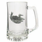 Loon Glass Super Beer Mug with Pewter Accent