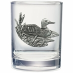 Loon Pewter Accent Double Old Fashion Glasses, Set of 2