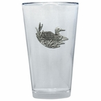 Loon Pint Beer Glasses with Pewter Accent, Set of 2