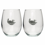 Loon Scene Pewter Accent Stemless Wine Glass Goblets, Set of 2