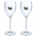 Loon Scene Pewter Accent Wine Glass Goblets, Set of 2