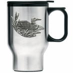 Loon Stainless Steel Travel Mug with Handle and Pewter Accent