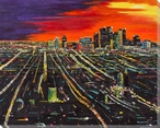 Los Angeles at Sunset Wrapped Canvas Giclee Print Wall Art