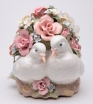 Love Birds and Roses Porcelain Musical Music Box Sculpture