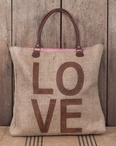 Love Stonewashed Burlap and Soft Leather Weekender Tote Bag