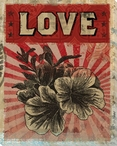 """Love"" with Flower Wrapped Canvas Giclee Print Wall Art"