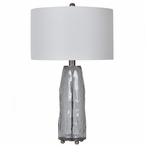 Lucca Glass and Metal Table Lamp with White Linen Shade