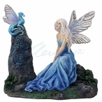 Luminescent Fairy with Dragon Sculpture by Rachel Anderson