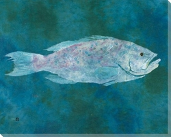 Lurker Yellowmouth Grouper Fish Wrapped Canvas Giclee ...