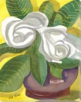 Magnolia Flowers in a Vase Wrapped Canvas Giclee Print Wall Art