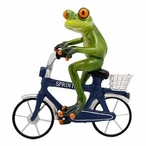 Male Frog Riding a Bike Statue