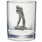 Male Golfer Pewter Accent Double Old Fashion Glasses, Set of 2