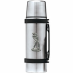 Male Golfer Stainless Steel Thermos with Pewter Accent