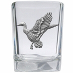 Mallard Duck Pewter Accent Shot Glasses, Set of 4