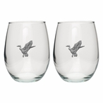 Mallard Duck Pewter Accent Stemless Wine Glass Goblets, Set of 2