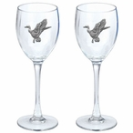 Mallard Duck Pewter Accent Wine Glass Goblets, Set of 2
