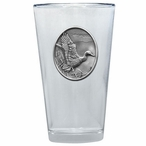 Mallard Duck Pint Beer Glasses with Pewter Accent, Set of 2