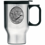 Mallard Duck Stainless Steel Travel Mug with Handle and Pewter Accent