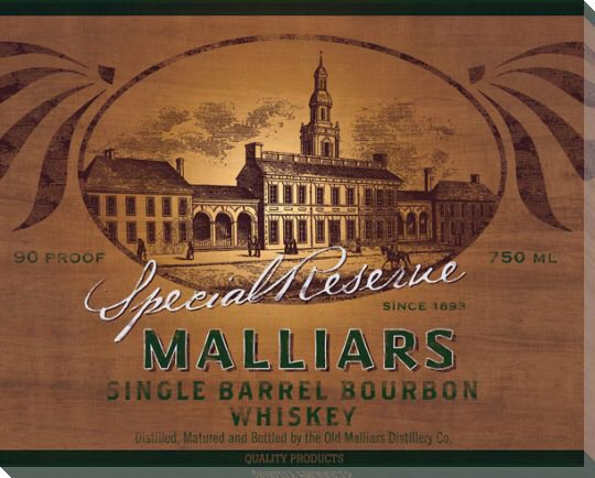 Malliars Bourbon Whiskey Wrapped Canvas Giclee Print Wall Art - Wall ...