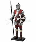 Maltese Knight Holding Pike and Round Shield Medieval Sculpture