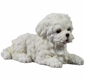 Maltese Puppy Laying Down Sculpture