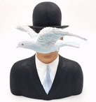 Man with Hat and Dove L'homme Au Chapeau Melon Statue by Magritte