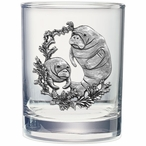 Manatee Pewter Accent Double Old Fashion Glasses, Set of 2