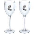 Manatee Pewter Accent Wine Glass Goblets, Set of 2