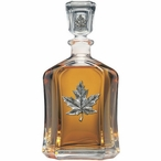 Maple Leaf Capitol Glass Decanter with Pewter Accents