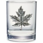Maple Leaf Pewter Accent Double Old Fashion Glasses, Set of 2
