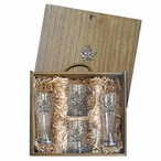 Maple Leaf Pilsner Glasses & Beer Mugs Box Set with Pewter Accents