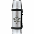 Maple Leaf Stainless Steel Thermos with Pewter Accent