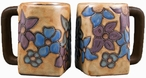 Mara Stoneware Square Mug 12oz - Blue & Purple Flowers