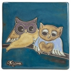 "Mara Stoneware Trivet Tile 6"" x 6"" - Owls on a Branch"