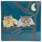 "Mara Stoneware Trivet Tile 8"" x 8"" - Owls on a Branch"