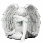 Marble White Winged Nude Female Sitting w/ Arm Holding Knee Sculpture