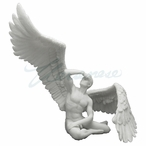 Marble White Winged Nude Male Sitting w/ Right Wing Extended Sculpture