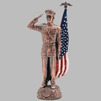 Antique Bronze Marine Corps Soldier with Painted American Flag Statue