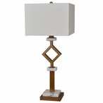 Marseilles Metal and Marble Table Lamp with White Linen Shade