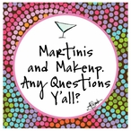 Martinis and Makeup Beverage Coasters by Jill Seale, Set of 12