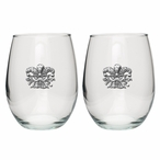 Mask Pewter Accent Stemless Wine Glass Goblets, Set of 2