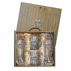 Mask Pilsner Glasses & Beer Mugs Box Set with Pewter Accents