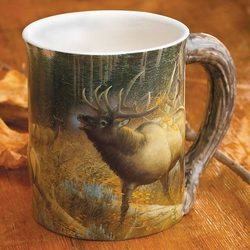 Master Of Intimidation Elk Sculpted Stoneware Coffee Mugs