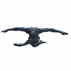 Matte Black Nude Male with Arms Extended Out Sculpture - 75966