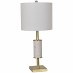 Maxwell Marble and Metal Table Lamp with White Linen Shade