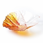 Medium Autumn Yellow/Red Color Crystal Bowl by Mats Jonasson
