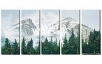 Medium Morning Mist Mountains Wrapped Canvas Giclee Wall Art, Set of 5